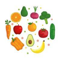 verduras y frutas frescas comida sana vector