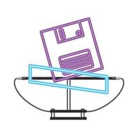 disquete de los noventa estilo retro luz de neón vector