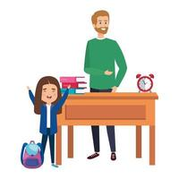 happy student girl with male teacher in desk vector