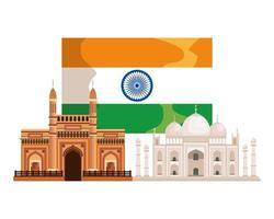 indian flag country with palaces buildings vector