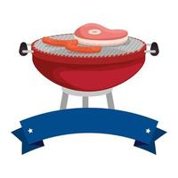 bbq grill with meat and sausages
