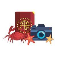 pasaporte con camara fotografica y cangrejo