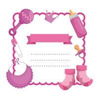 invitación de marco de tarjeta de baby shower vector