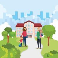 Estudiantes felices niños con pareja de profesores en la escuela al aire libre vector