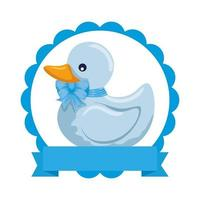 little rubber duck toy icon vector