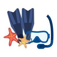 máscara de snorkel de buceo y aletas con estrella de mar vector