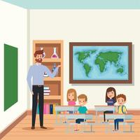 male teacher with students group in the school scene vector