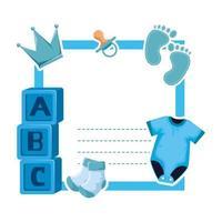 tarjeta de baby shower con cubos y huellas vector