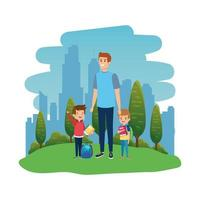 happy students boys with male teacher in the landscape vector