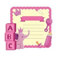 tarjeta de baby shower con bloques y elefante vector