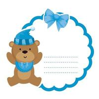 lace with little bear teddy and hat vector