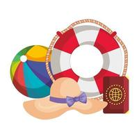 beach balloon with float and passport vector