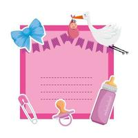 baby shower card with clothespin ans stork vector
