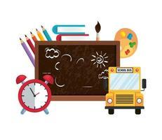 school chalkboard with alarm clock and bus vector