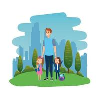 happy students girls with male teacher in the landscape vector