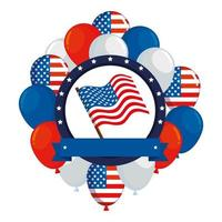 frame with balloons helium and usa flag vector