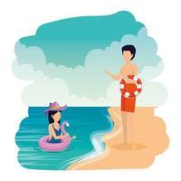 pareja joven, con, flotadores, en la playa vector