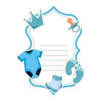 baby shower card frame invitation vector
