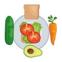 plato con verduras frescas y pan comida sana vector