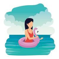 Bella mujer con flotador flamenco nadando en el mar vector