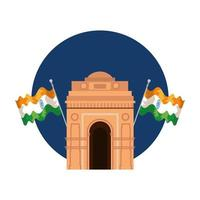 indian gate arch monument with flags vector