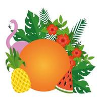 summer leafs plants with fruits and flemish bird vector