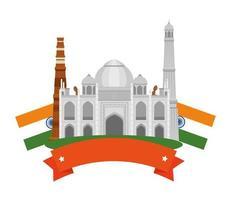 edificio indio taj mahal con banderas vector
