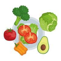 plato con verduras frescas comida sana vector