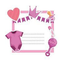 tarjeta de baby shower con ropa y corazón vector