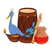 tambor indio con vela y pavo real