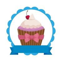 Encaje con dulce delicioso icono de pastelería cupcake vector