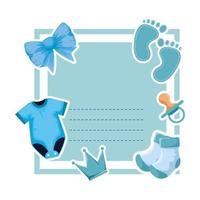 baby shower card with clothes and footprint vector