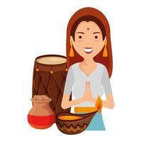 hermosa mujer de la india con artículos culturales