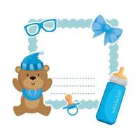 baby shower card with bear teddy and bottle milk vector