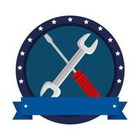 wrench and screwdriver tools crossed vector