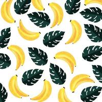 summer leafs plants and bananas pattern vector