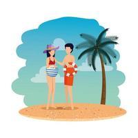 pareja joven, con, flotador, y, bolso de mano, en la playa vector