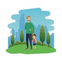happy student boy with male teacher in the landscape vector