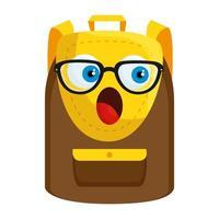 school bag supply kawaii comic character vector