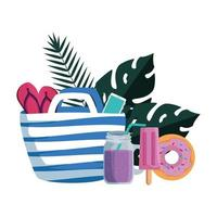 summer leafs plants with beach bag and set icons vector