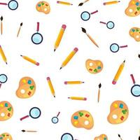 paint colors pallette with brush and magnifying glass pattern vector