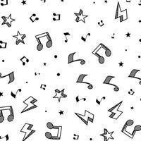 notas musicales y estrellas de fondo vector