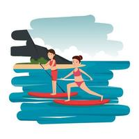 happy athletic girls practicing surf in the sea vector
