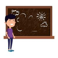 happy student boy drawing in chalkboard vector