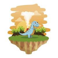 lindo tiranosaurio rex en el paisaje vector