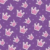 cute crown queen pattern background vector