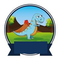 cute tyrannosaurus rex in the camp frame vector