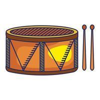 tambor, instrumento musical, aislado, icono vector