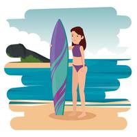 happy athletic girl practicing surf in the sea vector