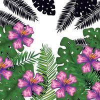 exotic leafs and flowers tropical pattern vector